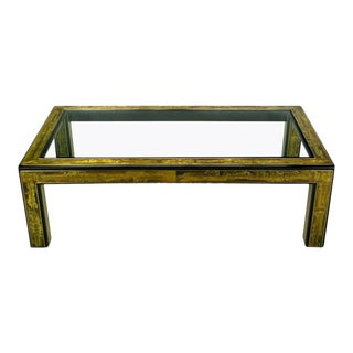 1970s Bernhard Rohne Mastercraft Acid-Etched Brass Dining Table For Sale