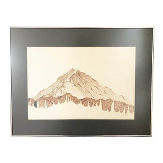 Vintage Pointillist Mountain Pen and Ink For Sale