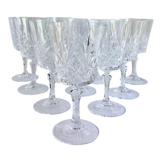 Vintage French Crystal Wine Glasses - Set of 10 For Sale