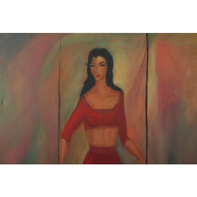 Original, one of a kind oil and/or acrylic painting of a woman on canvas. Mid Century modern art. Unsigned and unframed....