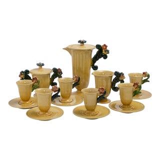 Antique Belgian Ceramic 9pc. Coffee Set Service For Sale