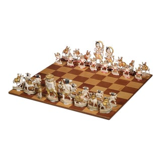 Mid-century Hand Carved Indian Chess Set c. 1960s