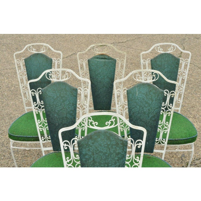 6 Vintage Wrought Iron Antarenni Patio Dining Chairs. Listing includes (6) side chairs, scrollwork design to frame,...