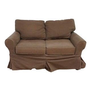Pottery Barn Brown Upholstered Loveseat For Sale