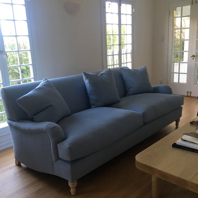 2010s Modern Traditional English Roll Arm Sofa in Blue For Sale - Image 5 of 7