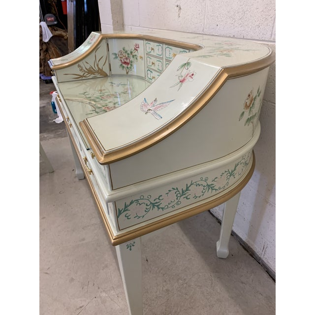 Blue Jasper Cabinet Company Hand Painted Chinoiserie Desk Vanity & Chair For Sale - Image 8 of 13