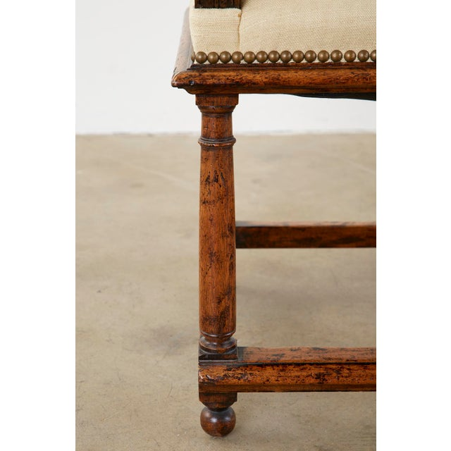 Cream English Gothic Revival Wainscot Style Carved Hall Chair For Sale - Image 8 of 13
