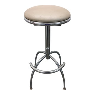1970s Space-Age Chrome Swivel Bar Stool For Sale