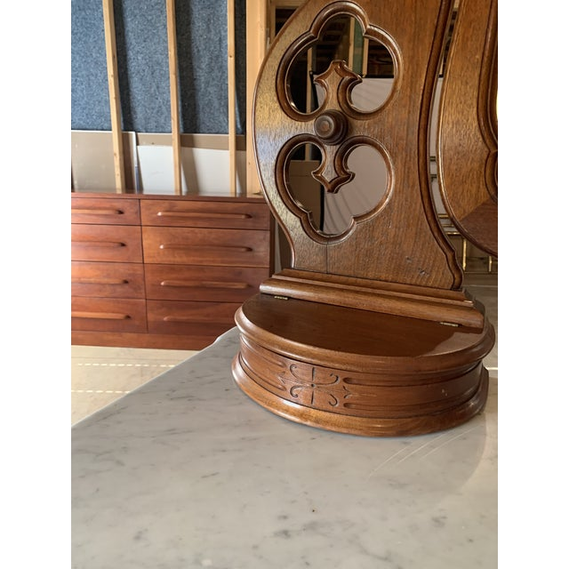 Late 1800's Victorian Carved Mahogany White Marble Top Dresser With Tilt Mirror For Sale - Image 11 of 13