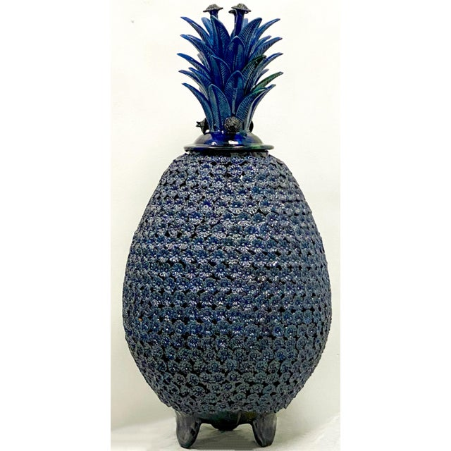 Ceramic Large Scale Terracotta Blue Pineaaple For Sale - Image 7 of 7