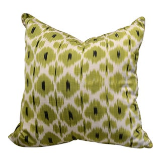 "Madeline Weinrib Celery ""Daphne"" Green Ikat Pillow For Sale"
