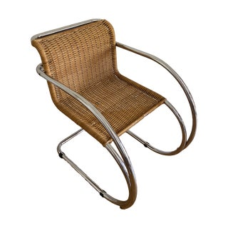 Vintage Mies Van Der Rohe Wicker Mr Chrome Chair For Sale