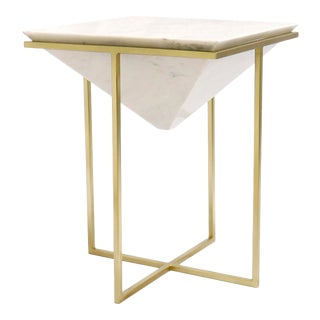 Pasargad Home Perama Marble & Stainless Steel Side Table For Sale