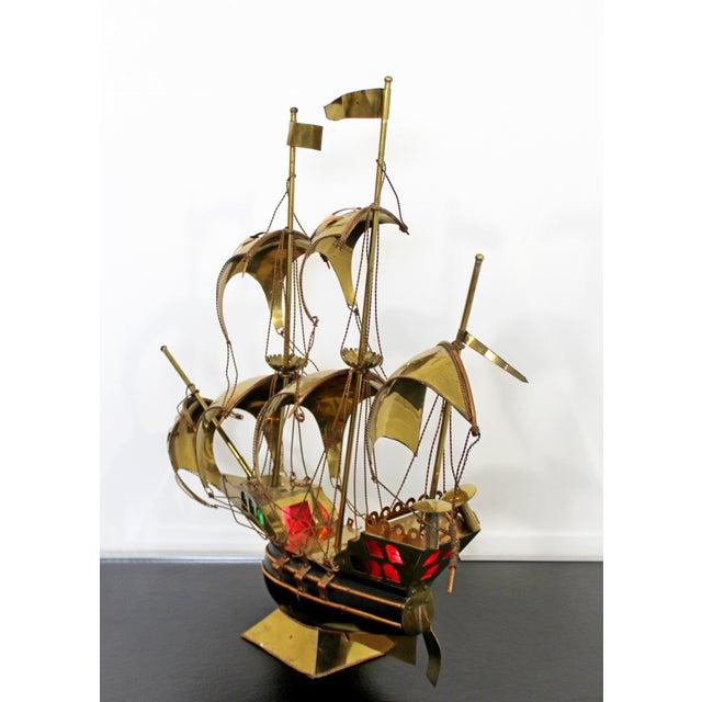 1970s Mid Century Modern Light Up Brass Copper Sailing Sculpture Bijan Jere Era 1970s For Sale - Image 5 of 9