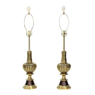Pair of Pumpkin Shape Brass Table Lamps by Stiffel For Sale