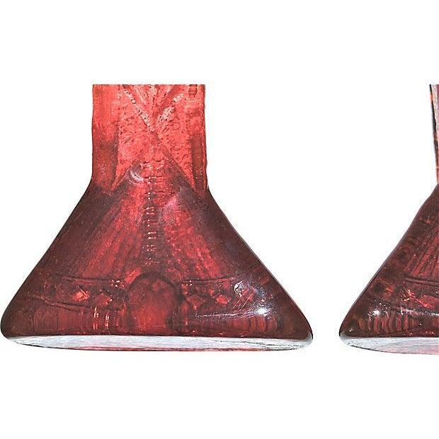 Blenko Amberina Teepee Glass Bookends, 1970s - Image 7 of 7