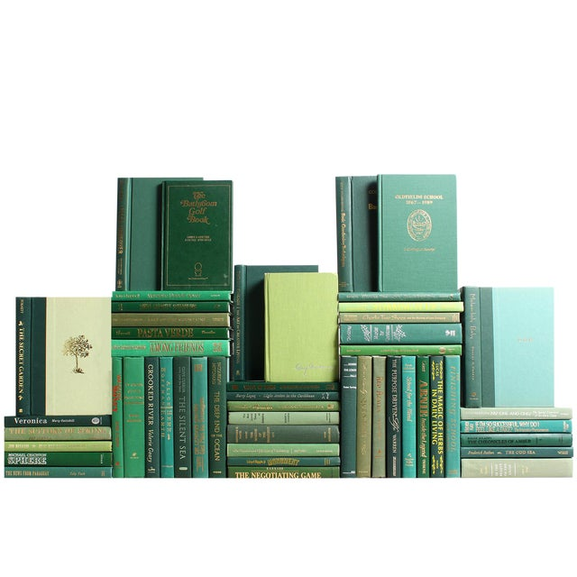 Modern Boxwood Book Wall : Set of Fifty Decorative Books For Sale