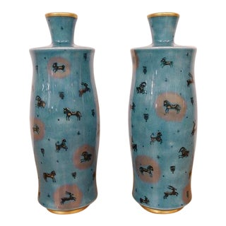 1950s Vintage Sevres and Decorated by E. Metayer Vases- a Pair For Sale