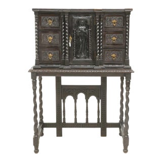 19th Century Antique Spanish Baroque Style Vargueno Cabinet / Desk For Sale