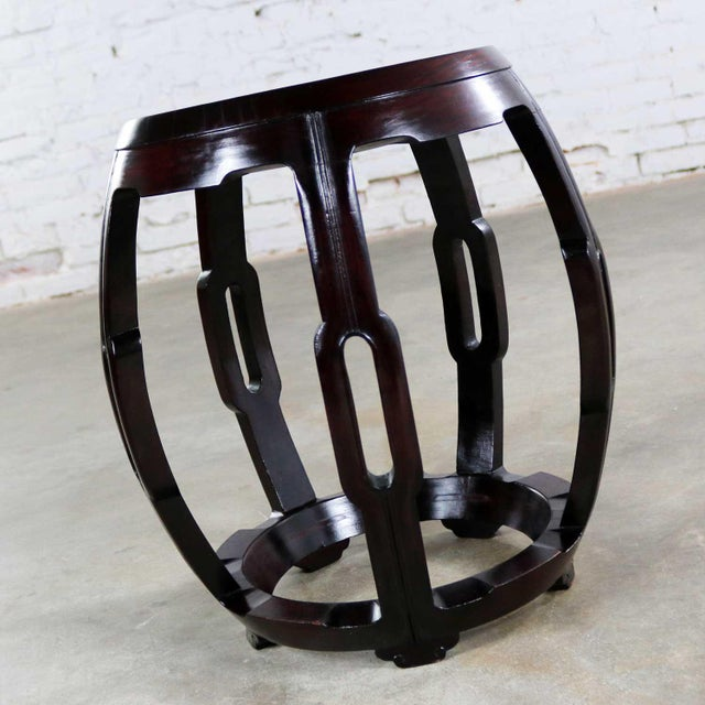 Asian Vintage Asian Rosewood Garden Stool or Barrel Drum Table With Brass Inlaid Design For Sale - Image 3 of 13
