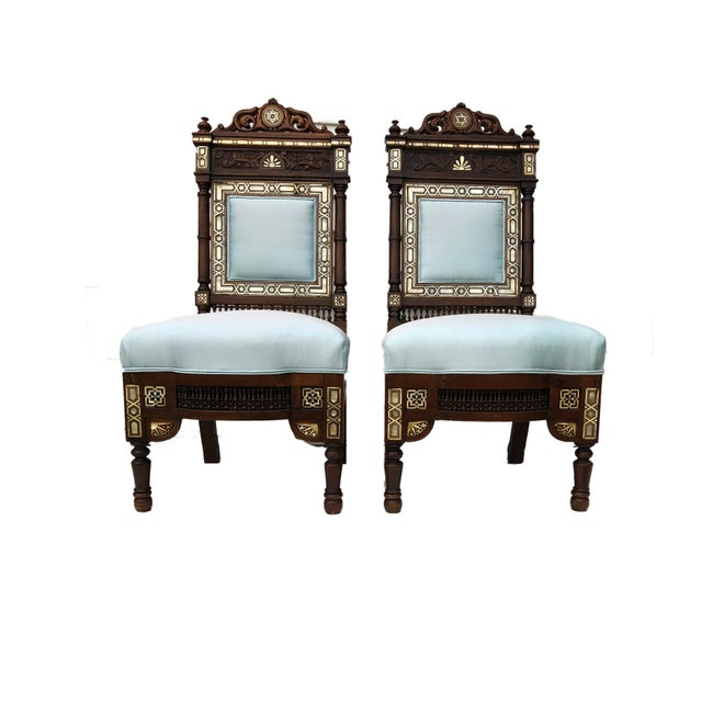 Museum Pieces 19th C Moorish Pair of Chairs For Sale - Image 4 of 12