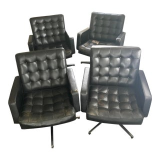 Knoll Vince Cafiero Original Leather Executive Swivel Chair - Set of 4 For Sale