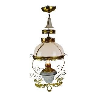 Antique Victorian Hanging Electrified Oil Lamp With Frosted Glass Smoke Bell For Sale