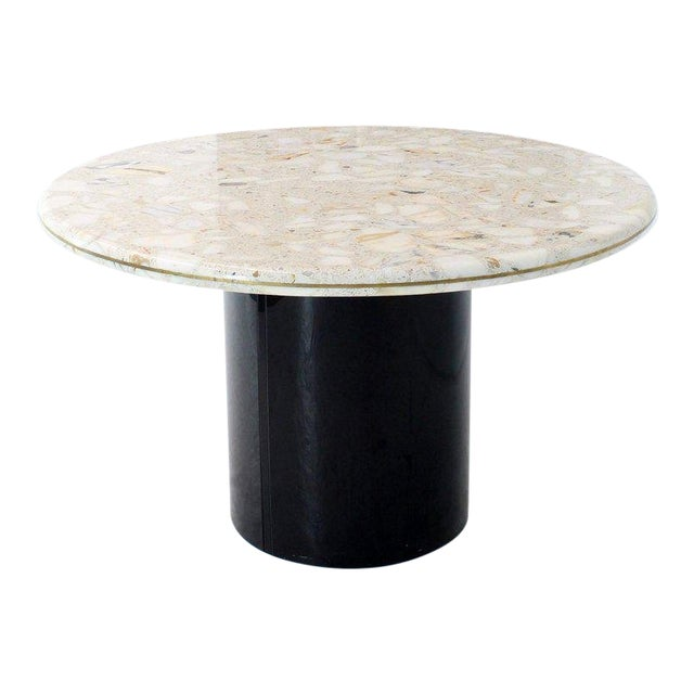 Round Marble Top Cylinder Base Center Conference Gueridon Dining Table For Sale