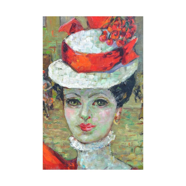 A compelling portrait of a beautiful woman wearing a red hat and dress with a Paris city scene in the background. This...