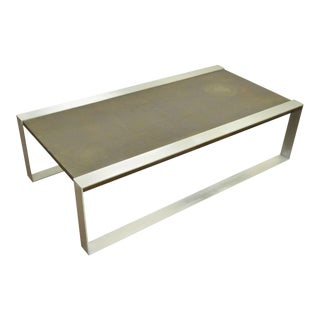 1960s Mid Century Modern Embossed Copper and Brushed Steel Coffee Table For Sale