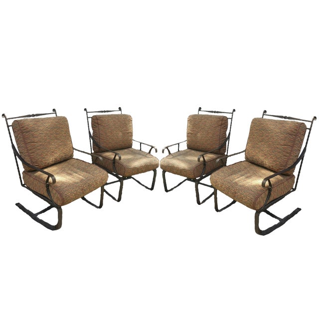 Hand Forged Wrought Iron Patio Lounge Chairs - Set of 4 - Image 1 of 7
