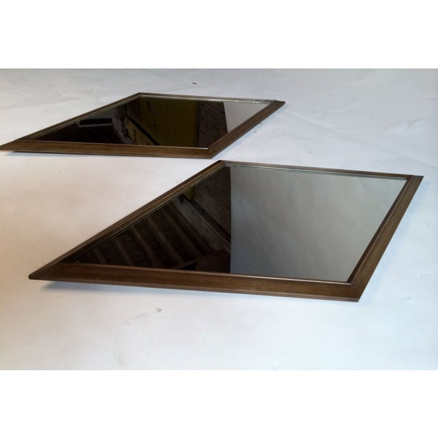 1960s Diamond Walnut Mirrors - A Pair - Image 4 of 5