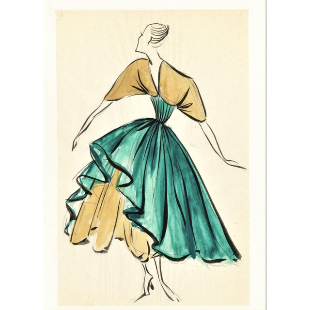 Contemporary Pair-Original French Fashion Design Drawings For Sale - Image 3 of 6