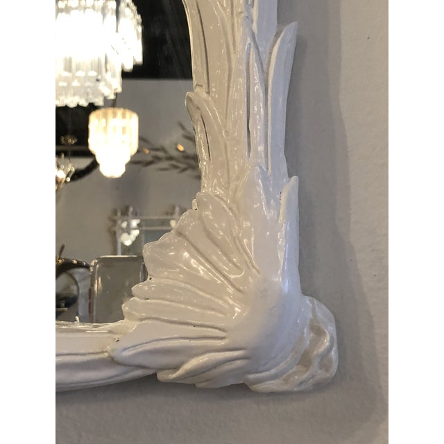 Vintage Hollywood Regency White Lacquered Leaf Wall Mirror For Sale In West Palm - Image 6 of 11