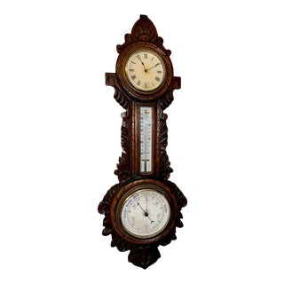 Late 19th Century Victorian English Clock and Weather Station For Sale