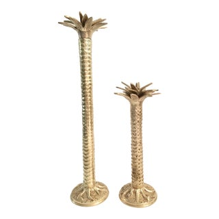 Vintage Brass Palm Tree Candle Holders