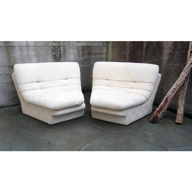 Mid-Century Modern 1970s Vladimir Kagan for Preview 2 Piece Modular Sectional Lounge Chairs - a Pair For Sale - Image 3 of 11