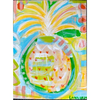 """Pineapple #9"" Abstract Painting by Christina Longoria For Sale"