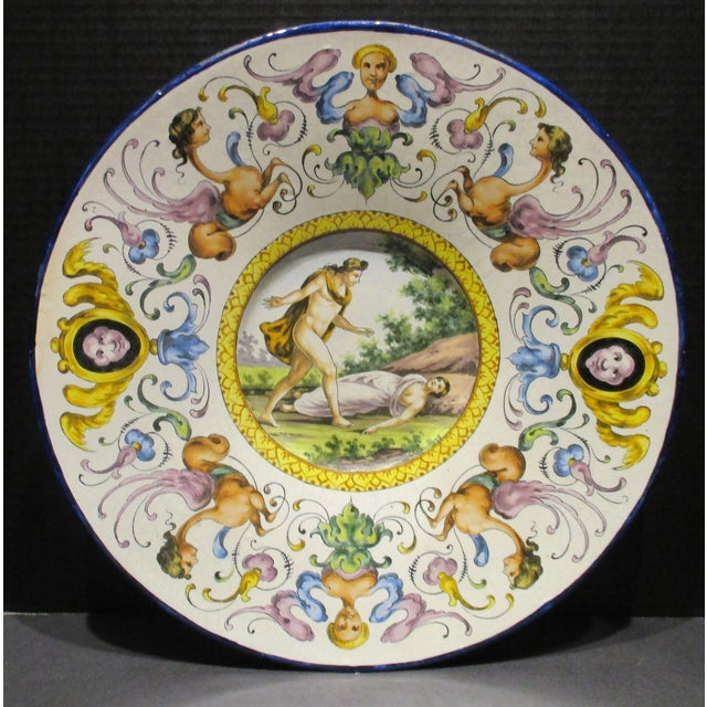 Late 19th Century Italian Majolica Hand Painted Semi Nudes Impressed Ad Charger For Sale - Image 13 of 13