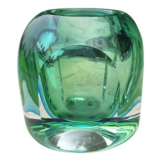 Vintage Murano Flavio Poli Chunky Faceted Art Glass Votive For Sale