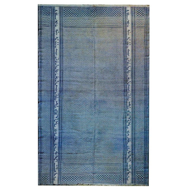 Gorgeous Vintage Blue and White Yadz Kilim Rug For Sale - Image 13 of 13