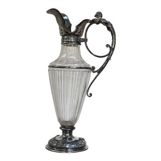 Victorian Crystal and Silver-Plate Claret Jug For Sale