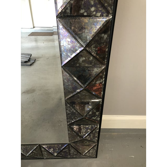 Vintage Purple Faceted Frame Oversize Mirror For Sale - Image 4 of 9
