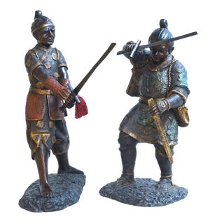 Early 20th Century Bronze Samurai Figurines - a Pair