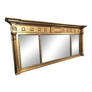 "Vintage Antique Gold Gilt French Empire Federal Style 3 Panel Mantel Mirror 65"" For Sale"