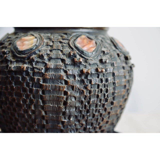 Heavy Tiffany Snake Basket Patinated Bronze Lamp With Custom Silk Shade For Sale - Image 11 of 12