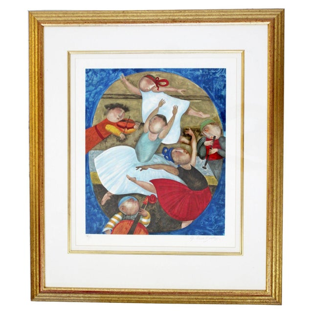 Lithograph Mid-Century Modern Gold Gilt Framed Lithograph Signed by Graciela Boulanger For Sale - Image 7 of 7
