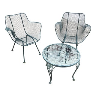 Sculptura Wrought Iron Russell Woodard Patio Set - 3 Pieces Last Call Chair Table For Sale