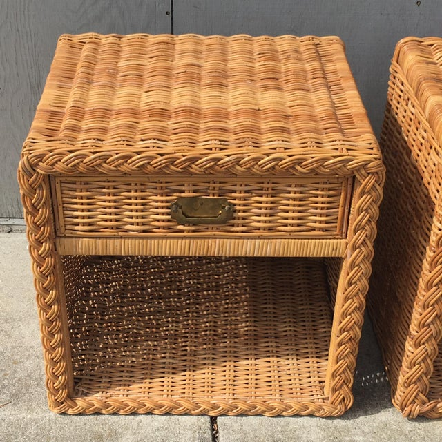 1970s 1970s Wicker Works Rattan Campaign Style Nightstands-a Pair For Sale - Image 5 of 7