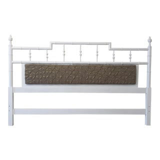 Faux Bamboo Pagoda Style Center Cushion King Size Headboard For Sale